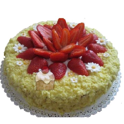 torta mimosa con crema pasticcera e decorazione con fragole