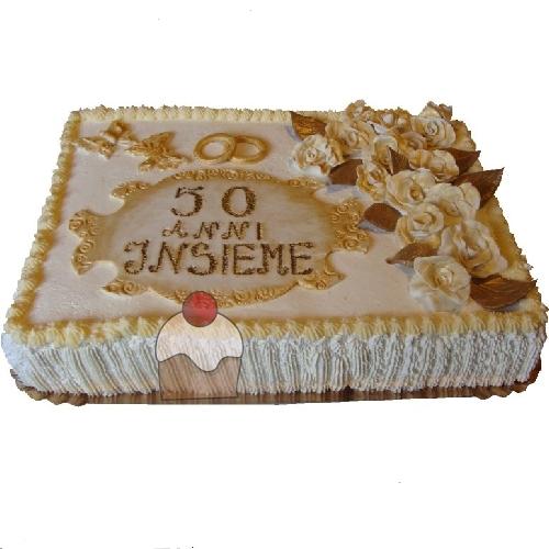 Elegantissima Torta Per I 50 Anni Di Matrimonio Farcita Alla Crema