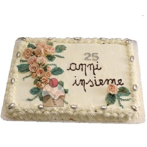 Elegante torta per festeggiare 25 anni di matrimonio for Decorazione torte per 50 anni di matrimonio
