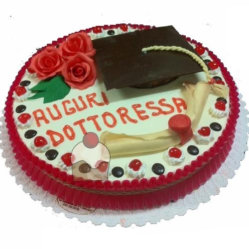 Torta rotonda per laurea decorata con panna e pasta di for Decorazioni per torte di laurea