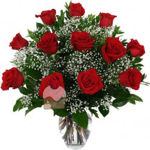 immagine Elegante bouquet con 12 rose rosse